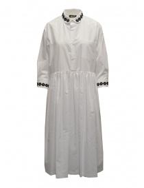 Miyao lungo vestito a camicia bianco con ricami neri online