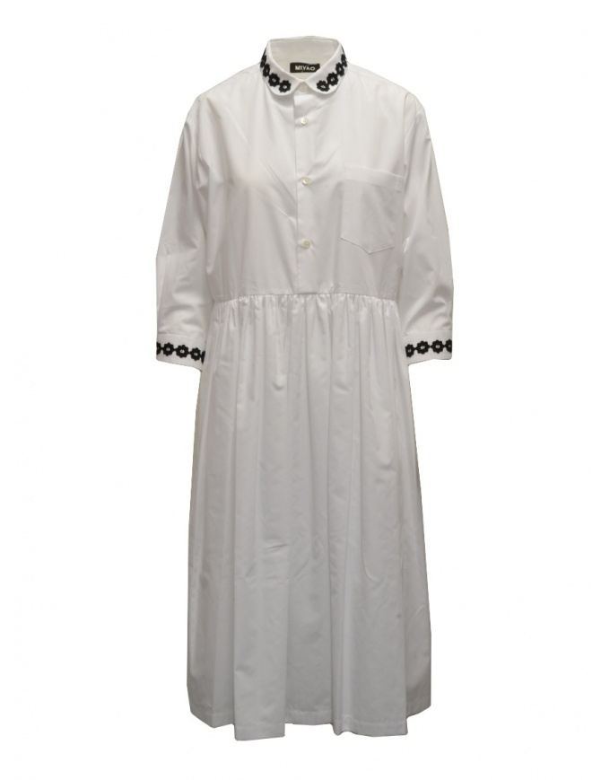 Miyao long white shirt dress with black embroidery MTOP-02 WHT-BLK womens dresses online shopping