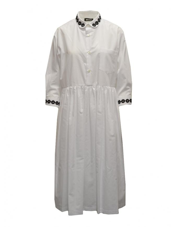 Miyao lungo vestito a camicia bianco con ricami neri MTOP-02 WHT-BLK abiti donna online shopping