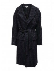 Womens coats online: Miyao long blue pinstripe coat