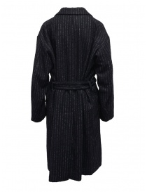 Miyao lungo cappotto gessato blu