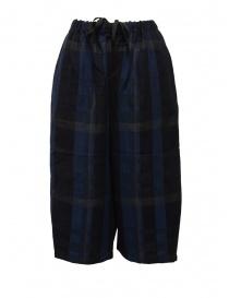 Vlas Blomme pantaloni cropped a quadri blu online