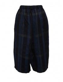 Vlas Blomme pantaloni cropped a quadri blu