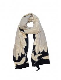 Kapital sciarpa nera con stampa di un'aquila bianca