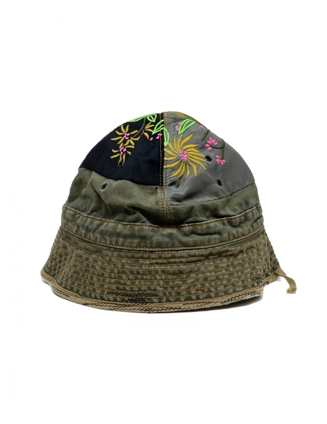 Kapital green bucket hat with embroidered patches K2003XH507 KHA hats and caps online shopping