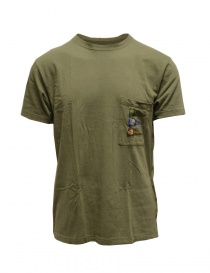 T shirt uomo online: Kapital t-shirt verde khaki con taschino e bandiere