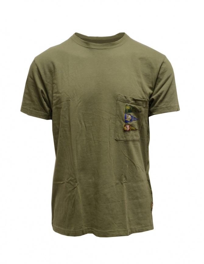 Kapital khaki green t-shirt with pocket and flags K2003SC042 KHAKI mens t shirts online shopping