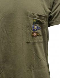 Kapital t-shirt verde khaki con taschino e bandiere prezzo