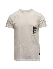T shirt uomo online: Kapital T-shirt bianca con taschino e bandiere