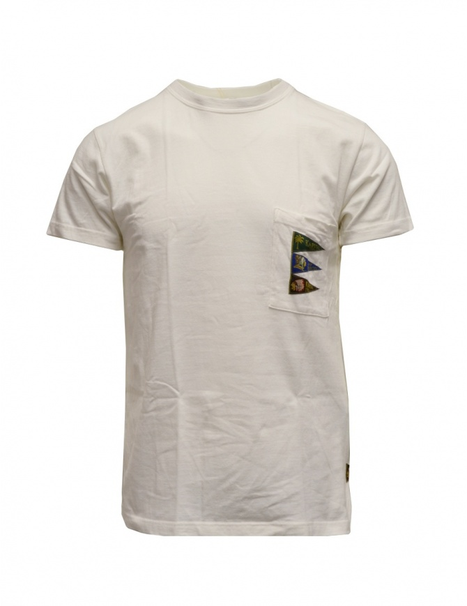 Kapital white T-shirt with pocket and flags K2003SC042 WHITE mens t shirts online shopping