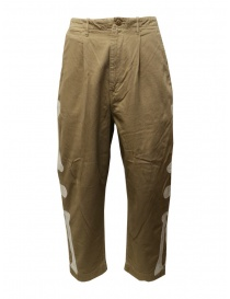 Mens trousers online: Kapital beige trousers with bones embroidered on the sides