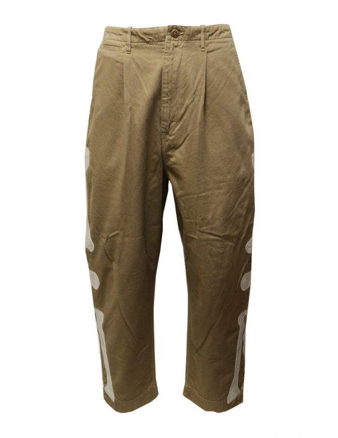 Kapital beige trousers with bones embroidered on the sides K2003LP047 BEIGE mens trousers online shopping