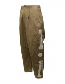 Kapital beige trousers with bones embroidered on the sides