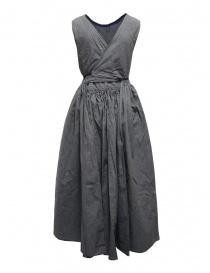 Kapital apron dress in pinstripe denim