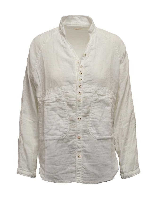 Kapital white shirt torn edges EK-534 WHITE womens shirts online shopping
