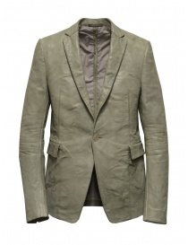 Mens suit jackets online: Carol Christian Poell suit jacket in grey kangaroo leather LM/2640P