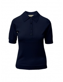 T shirt donna online: Goes Botanical polo in lana Merino blu