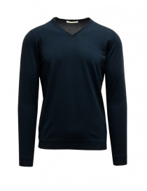 Mens knitwear online: Goes Botanical petroleum blue V-neck pullover