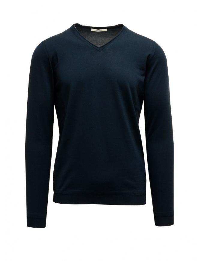 Goes Botanical petroleum blue V-neck pullover 102 4355 PETROLIO mens knitwear online shopping