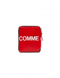 Wallets online: Comme des Garçons red leather wallet with logo