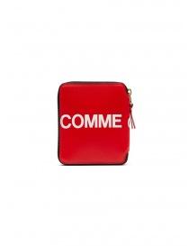 Comme des Garçons red leather wallet with logo SA2100HL HUGE LOGO RED