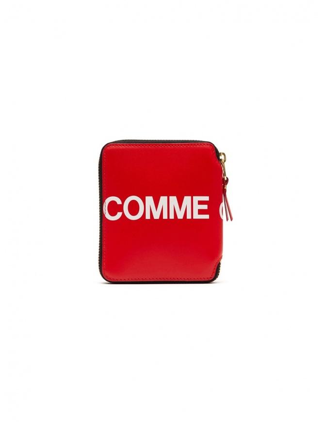 Comme des Garçons red leather wallet with logo SA2100HL HUGE LOGO RED wallets online shopping