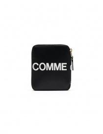 Comme des Garçons black compact wallet with logo online
