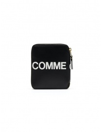 Wallets online: Comme des Garçons black compact wallet with logo