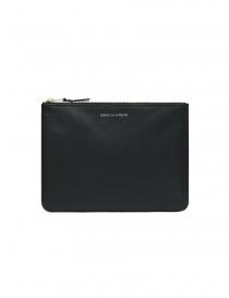 Wallets online: Comme des Garçons medium pouch in black leather