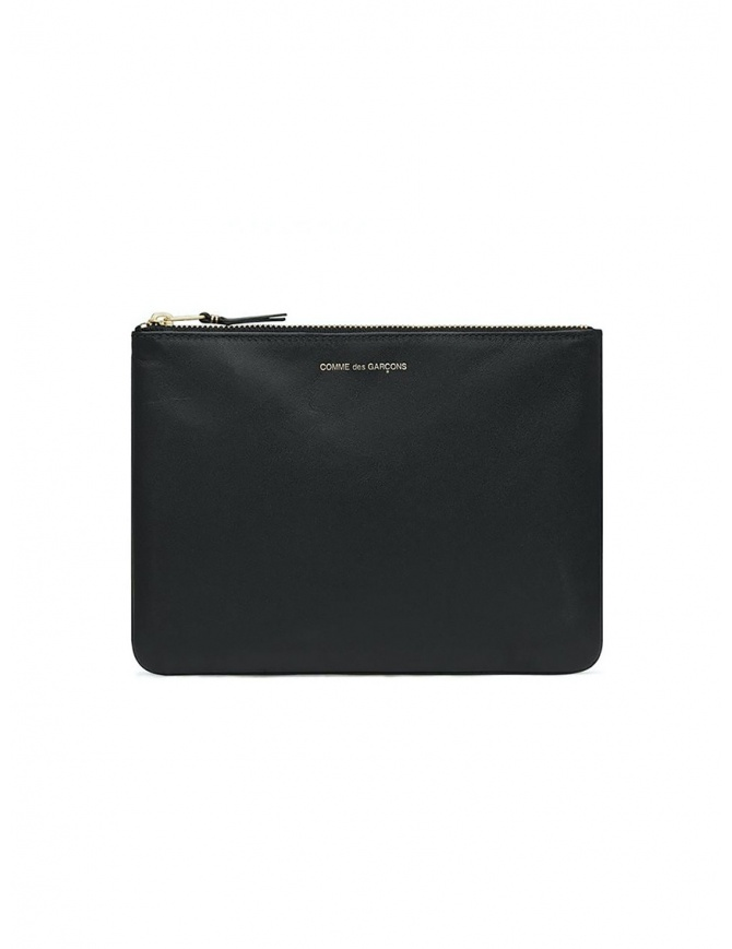 Comme des Garçons medium pouch in black leather SA5100 BLACK wallets online shopping