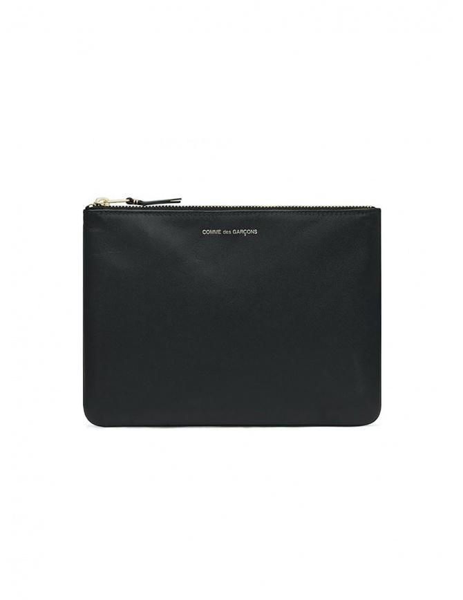 Comme des Garçons busta media in pelle nera SA5100 BLACK portafogli online shopping