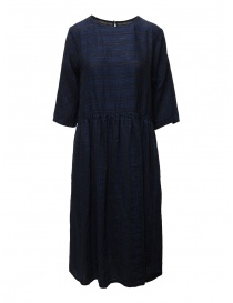 Vlas Blomme long dress in blue striped linen online