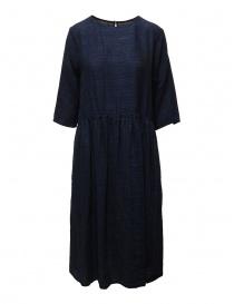 Vlas Blomme vestito lungo in lino blu a righe online