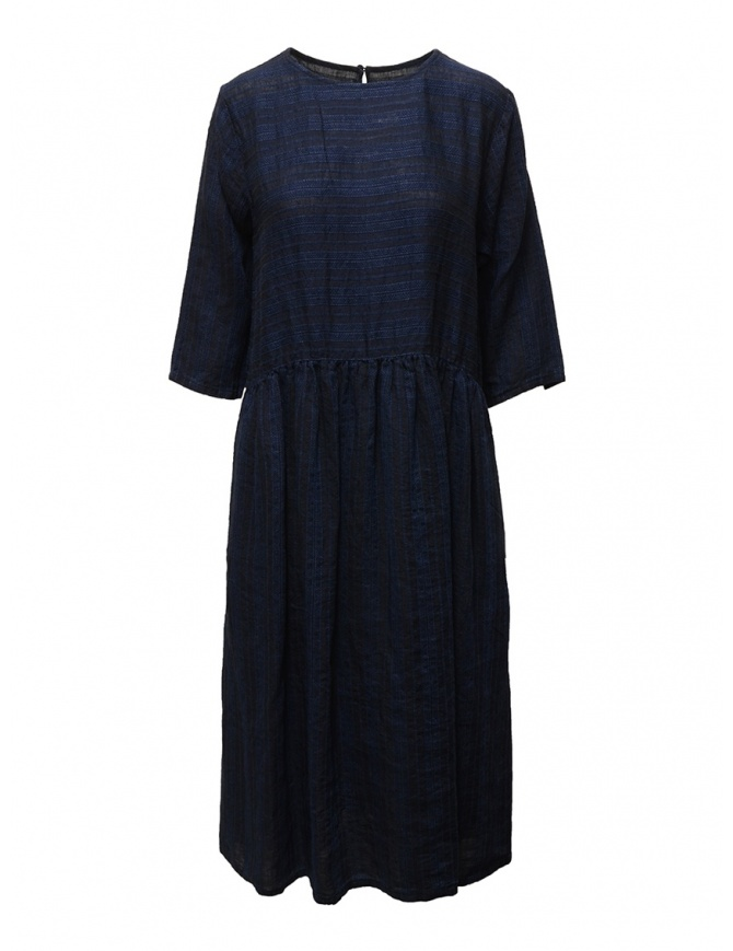 Vlas Blomme long dress in blue striped linen 13223601 G.BLUE womens dresses online shopping