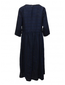 Vlas Blomme long dress in blue striped linen