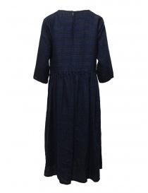 Vlas Blomme vestito lungo in lino blu a righe