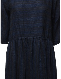 Vlas Blomme long dress in blue striped linen price