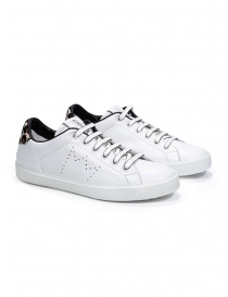 Womens shoes online: Leather Crown W_LC06_20113 white sneakers with spotted heel