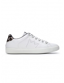 Leather Crown W_LC06_20113 white sneakers with spotted heel