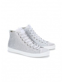 Leather Crown W117-693 high silver sneakers online