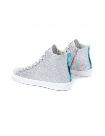 Leather Crown W117-693 high silver sneakers
