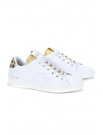 Womens shoes online: Leather Crown WLC06-614 white, gold, spotted sneakers