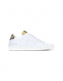 Leather Crown WLC06-614 white, gold, spotted sneakers