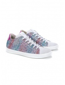 Leather Crown W136-615 pink and turquoise glitter sneakers online