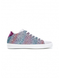 Leather Crown W136-615 pink and turquoise glitter sneakers