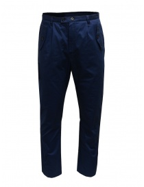 Mens trousers online: Camo blue pants with front military pockets