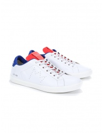 Mens shoes online: Leather Crown MLC06-604 white red blue sneakers