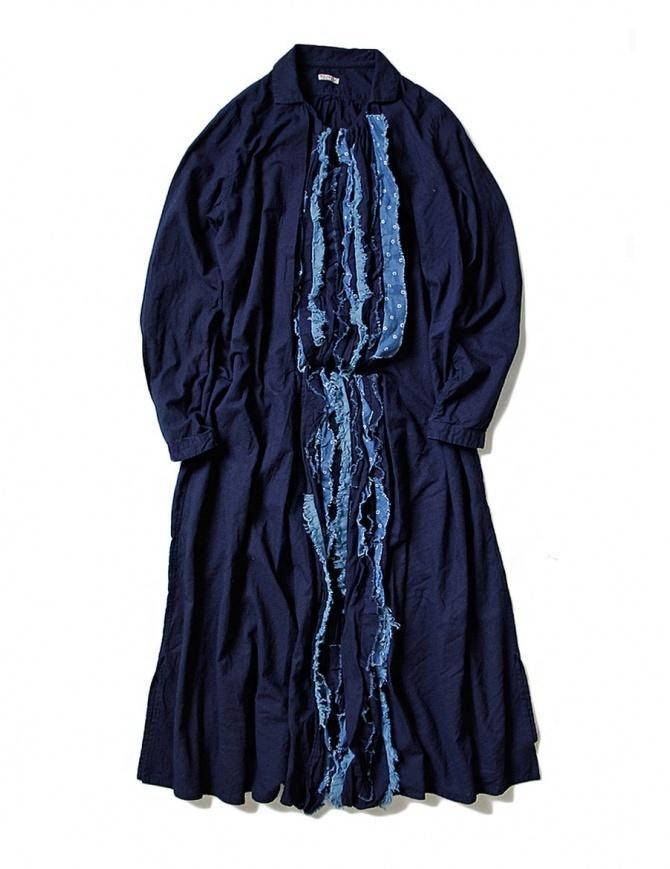 Kapital blue indigo dress with rouches EK-641 IDG womens dresses online shopping