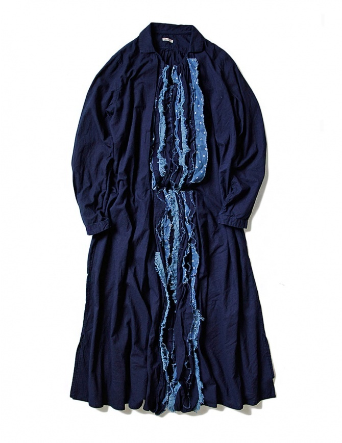 Kapital vestito blu indaco con rouches EK-641 IDG abiti donna online shopping