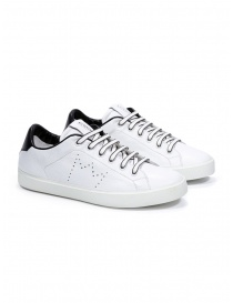 Mens shoes online: Leather Crown M_LC06_20101 white leather sneakers